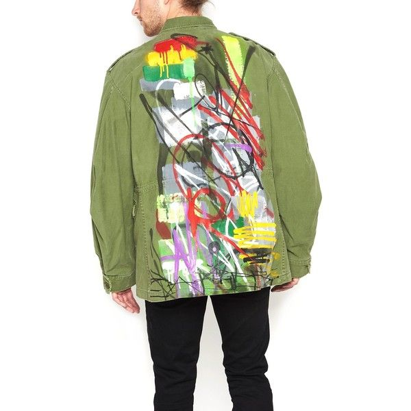 ADAPTATION 'Surplus Field' Parka (99,285 DOP) ❤ liked on Polyvore featuring men's fashion, men's clothing, men's outerwear, men's coats, mens green sport coat, men's cotton sport coat, mens leopard print coat and mens parka coats