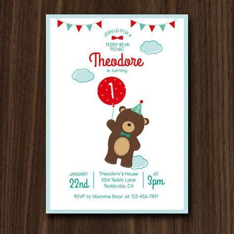 Teddy Bear Picnic Invitation Teddy Bear Birthday by maydetails