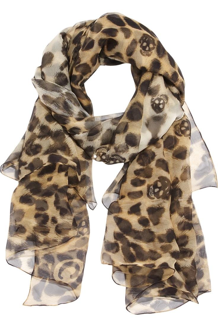 Alexander McQueen leopard and skull print silk-chiffon scarf.