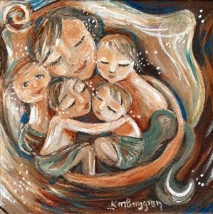 Circle Of Calm - mother sleeping with four kids print by Katie m. Berggren