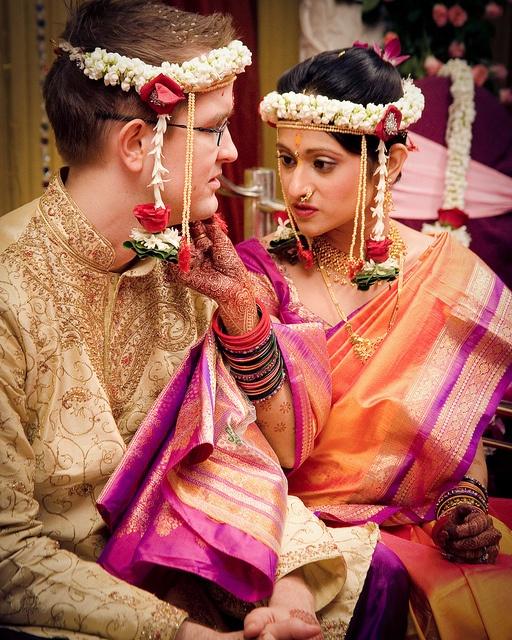 orange and purple wedding sari