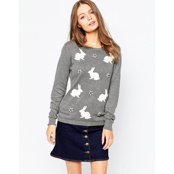 Sugarhill Boutique Sparkle Bunny Jumper featuring polyvore, fashion, clothing, tops, sweaters, grey marl, grey top, grey sweater, sparkle sweater, sparkly tops and gray sweater