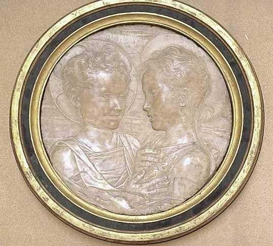 Desiderio da SETTIGNANO Settignano, vers 1430 - Florence, 1464  Jésus et saint Jean Baptiste enfants  Marbre Pr. : 0,04 m. Louvre