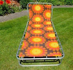 Vintage-Retro-Floral-60s-70s-Folding-Sun-Lounger-Bed