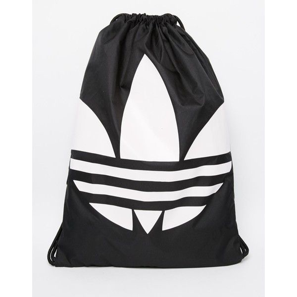 adidas Originals Drawstring Backpack (125 DKK) ❤ liked on Polyvore featuring men's fashion, men's bags, men's backpacks, black and adidas originals