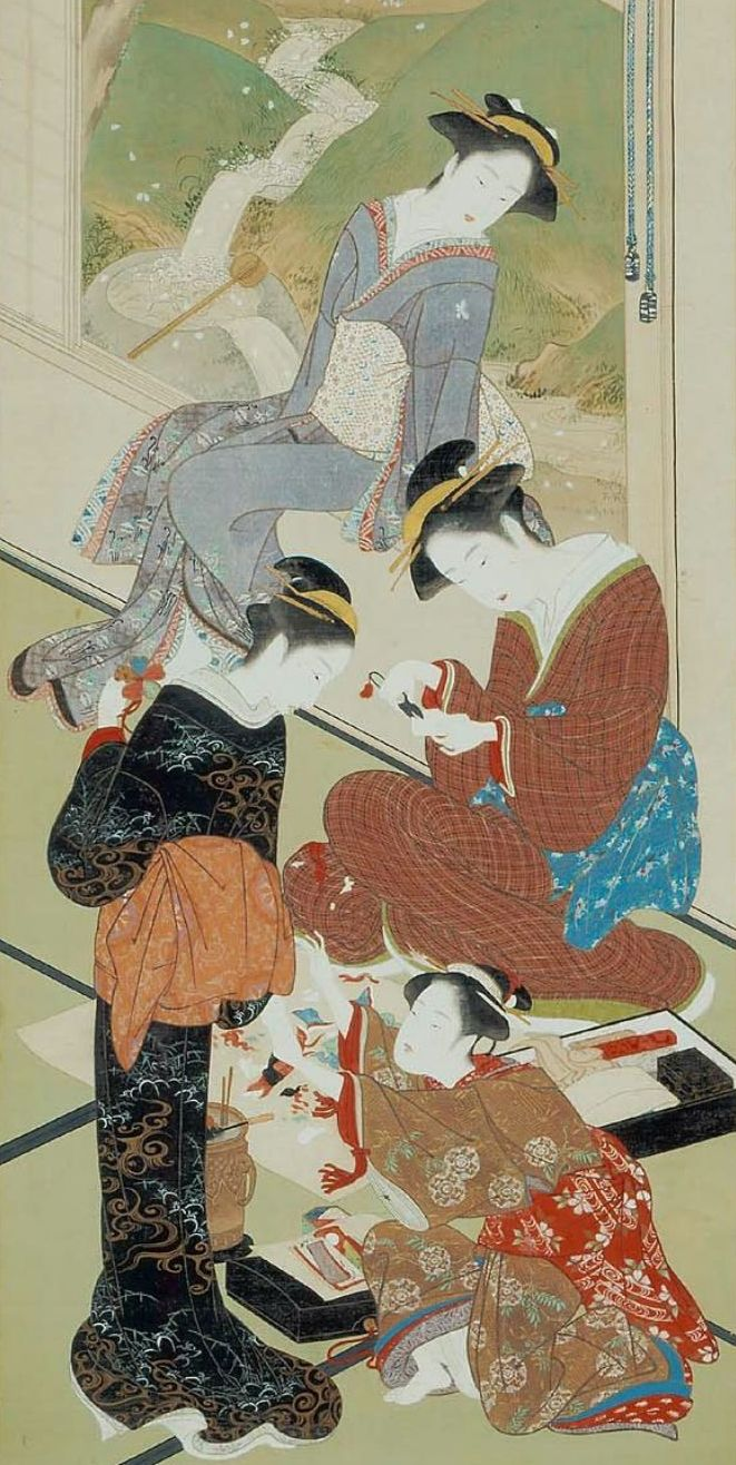 Color in japanese art - Japan Hanging Scroll By Katsukawa Shunsho Women Making Dolls Ink And Color On Silk