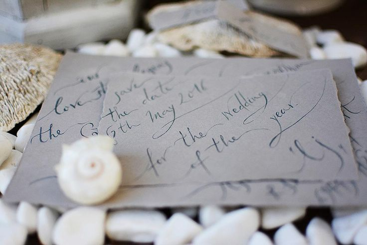 Intimate, one-by-one hand written Save-the-Date card on deckled edged paper