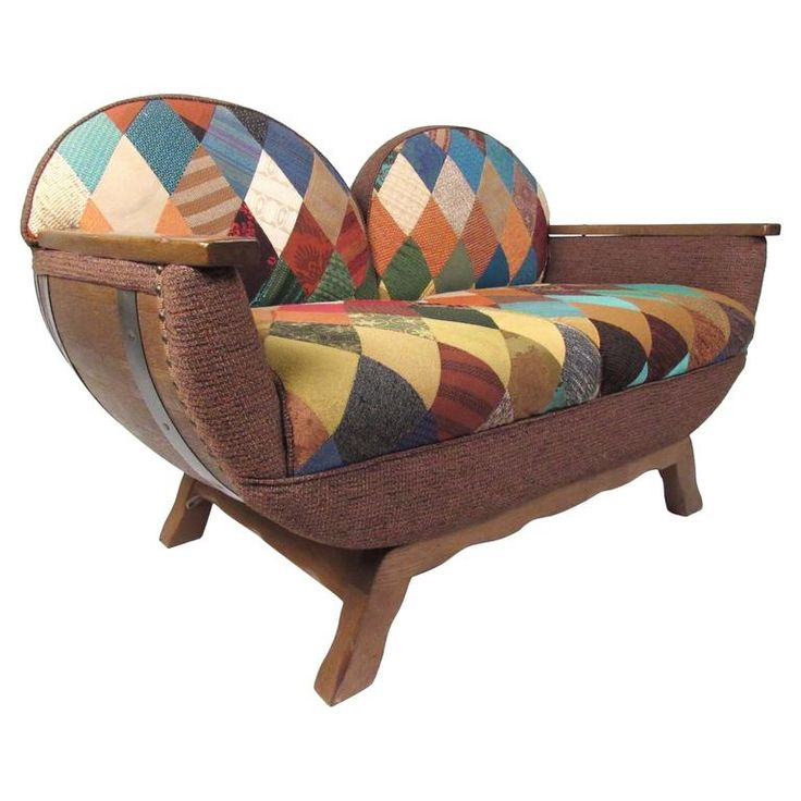 Vintage Rustic Wine Cask Loveseat | From a unique collection of antique and modern settees at https://www.1stdibs.com/furniture/seating/settees/