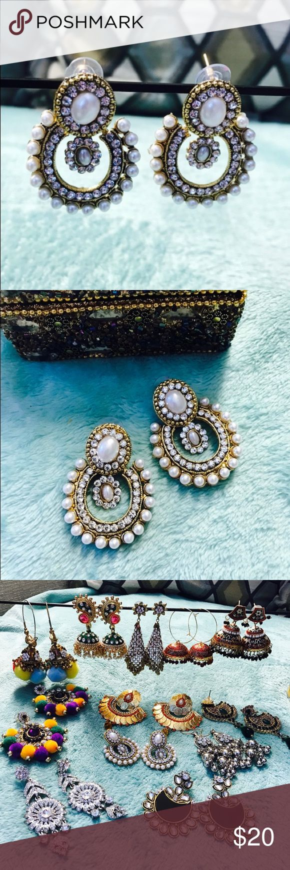 Indian rhinestone and pearl Earrings!❤️💕 Brand new!❤️💕❤️ I love my all jewelry pieces ❤️💕 I have hundreds of it! So I am selling this! It is perfect for party, wedding, prom❤️💕❤️ Boutique Jewelry Earrings