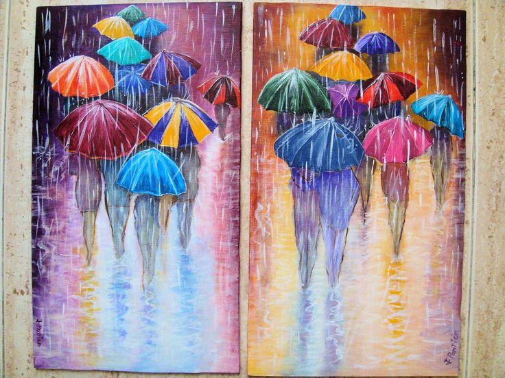 schilderij meisje met rode paraplu - Google zoeken