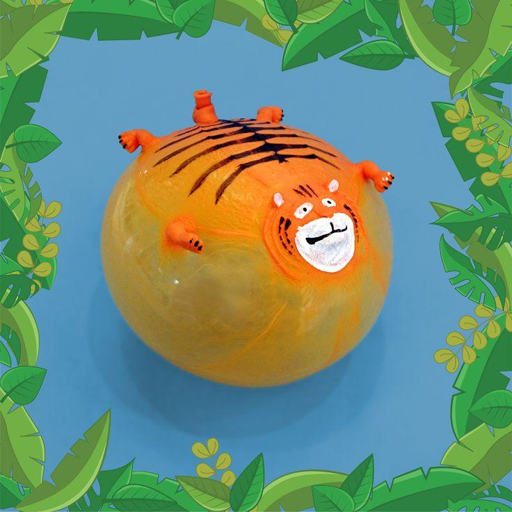 Globo hinchable con forma de tigre para animar tus fiestas salvajes o como regalo para niños. Deben dejar volar su imaginación con estos personajes de la selva. #globos #juguete #tigre