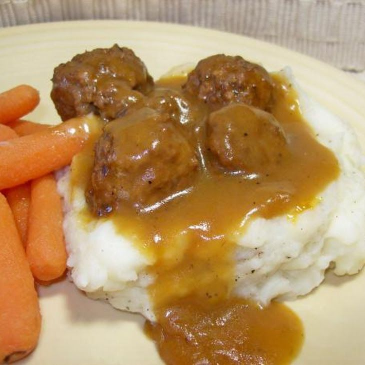 11/2 lbs meatballs (frozen, thawed i usually put them in frozen to save time) 21 ozs cream of mushroom soup (undiluted) 1 oz gravy mix (envelope brown) 1 beef bouillon cube (omitted to cut down sodium) 1 cup water