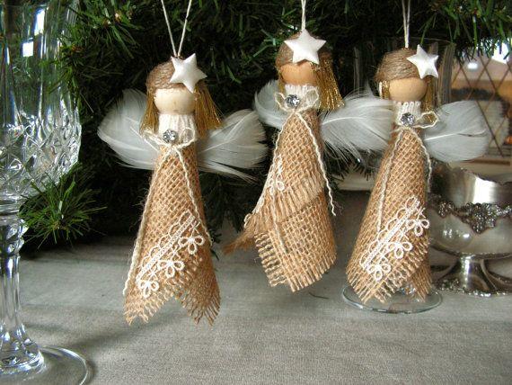 Ornamento de Navidad Ángel arpillera juego de 3 por Mydaisy2000