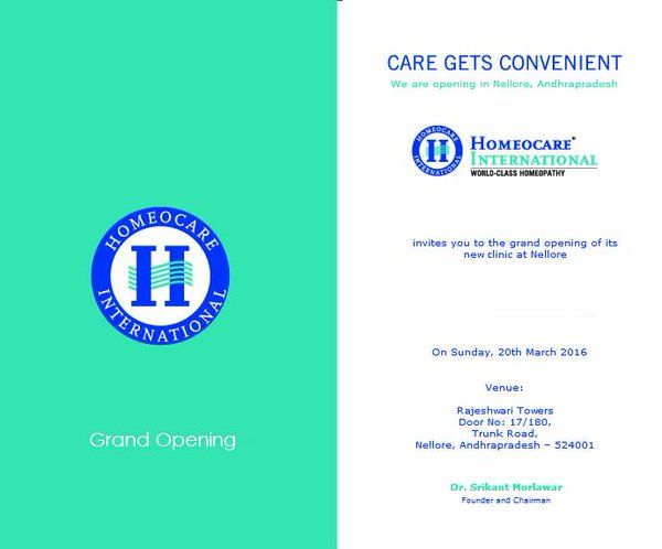 Inviting all to the grand opening of ‪#‎HomeocareInternational‬ new clinic at ‪#‎Nellore‬