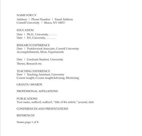 Resumes and CVs | Graduate School (Cornell University)