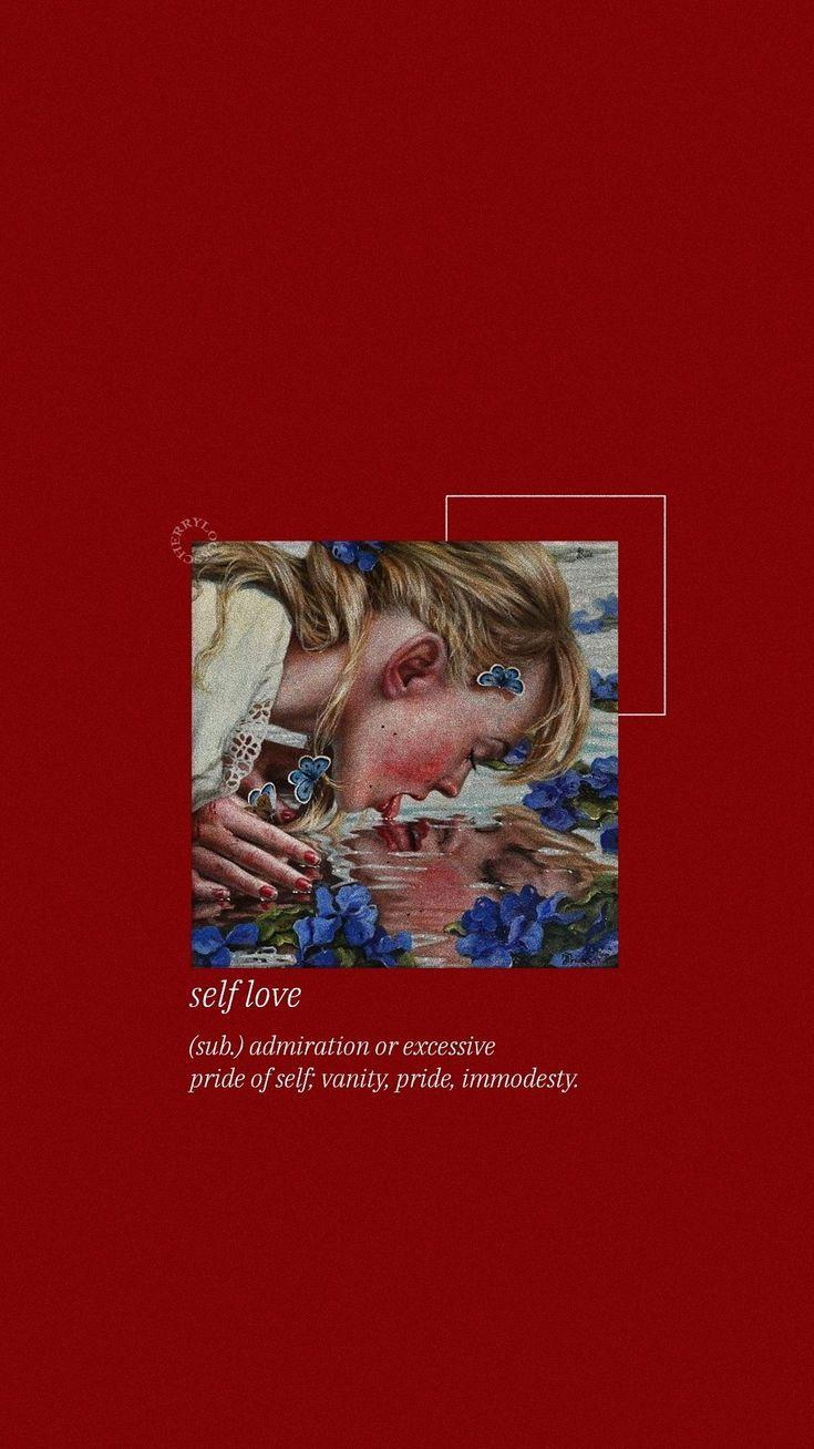 self love    red aesthetic    lockscreen –  – #walpapers