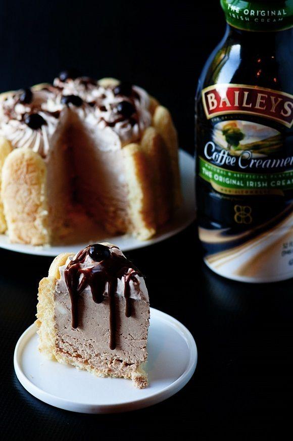 Elegant, non-alcoholic, easy to make, frozen tiramisu cheesecake made with BAILEYS® Coffee Creamer Original Irish Creme Flavor, perfect for St. Patty's Day.