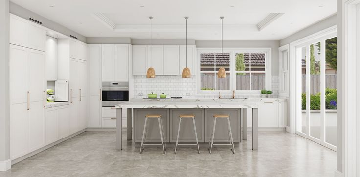 Large L shaped shaker kitchen featuring a grey toned marble island. Roseville, NSW
