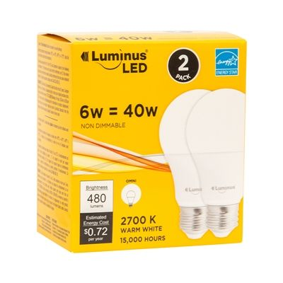 Luminus PB1142N A19 Regular LED Light Bulbs (2 Pack)