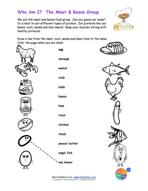 Printable Match the Meat Beans Names and Color the