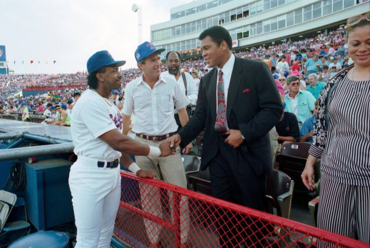 Muhammad Ali, his wife Yolanda, and George W. Bush attending a Texas Rangers game-July 1990.  Fort Worth Star Telegram Collection #TBT Texas Rangers George W. Bush