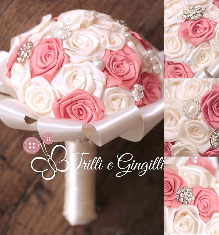 Bouquet gioiello con rose di raso bianche e corallo. Jewelery bouquet with white, pink and coral roses. #bouquet #wedding