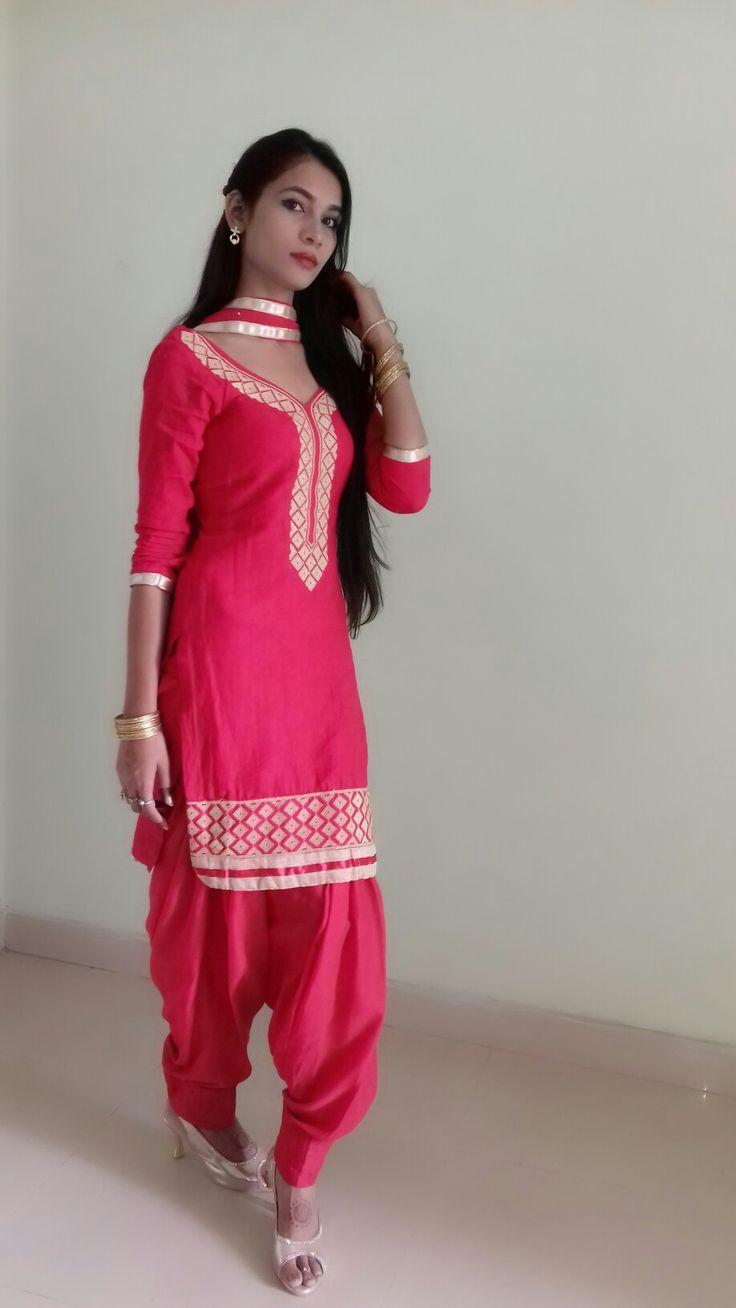 Aarti singh save to punjabi kudi   Salwar suit cherry  red salfe print cotton