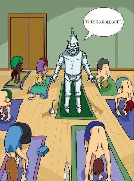 Voel je je ook soms wel eens zo? Komaan spondies, een beetje beweging krijgen in die scharniertjes! :-D Tinman in yoga class, cartoon gevonden via facebook, auteur onbekend. De ziekte van Bechterew...