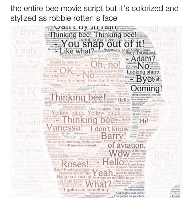 The Entire Bee Movie Script But It's Colorized And Stylized As Robbie Rotten's Face.