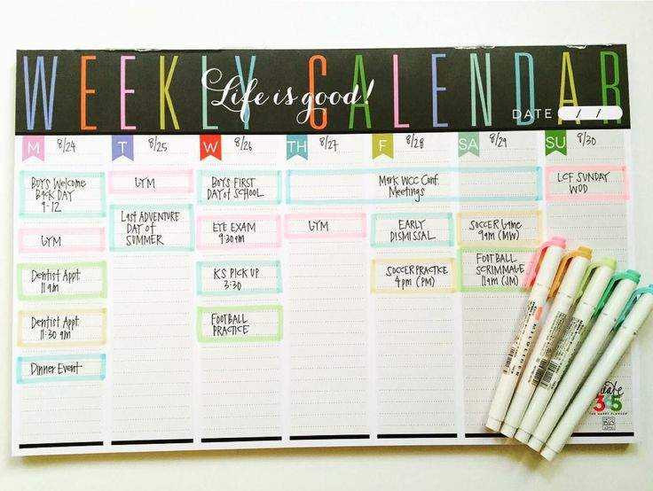 a way to organize your week on campus | the Weekly Planner Pad of mambi Design Team member April Orr | me & my BIG ideas
