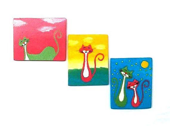 Katze-3er, Katze Crazy Lady Geschenk, lustige Magnet, Katzegeliebten Gegenwart, Küche Magnet, Kühlschrank Kitty Magnet, Magnete, Tier Magnet, Cat-Artwork