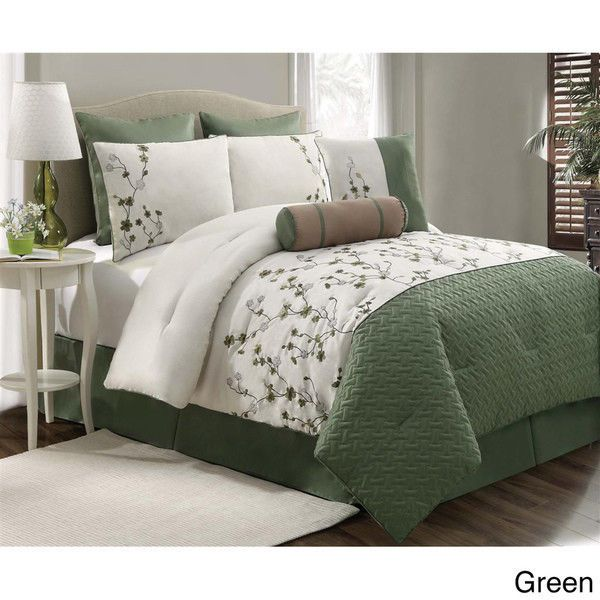 Beautiful 5 Pc Green White Leaf Vine Sage Floral Comforter