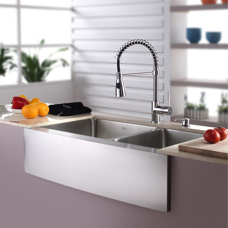 """Kraus Kitchen Combo 33"""" x 25"""" Double Bowl Stainless Steel Kitchen Sink with Faucet"""