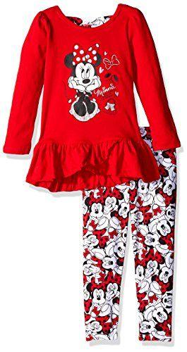 Disney Girls' Little Girls' 2 Piece Minnie Mouse Bow Back Top and Legging Set #Disney #MinnieMouse #ClothingSet #YankeeToyBox