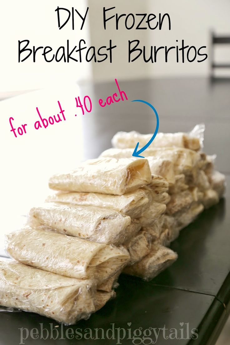 DIY Frozen Breakfast Burritos for about .40 cents a piece.  See how we make our own healthy and quick breakfast burritos.