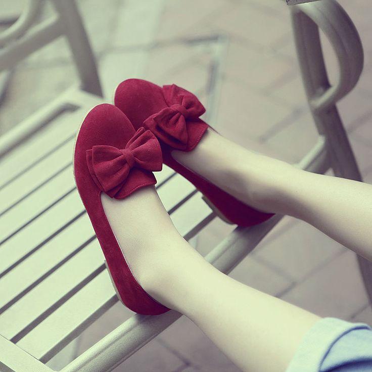 Women Ladies Flat Heel Bowtie Shoes Pump Heels Preppy Ballet Heels Light Single