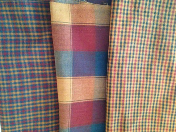 Plaid Flannel Fabric Bundle.  Various Colors Plaid Flannel Fabrics. by RowesFlyingNeedles