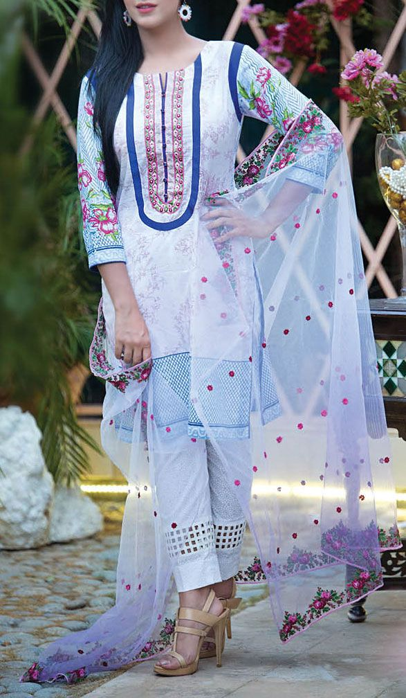 Buy White Embroidered Cotton Lawn Dress by Kalyan 2016
