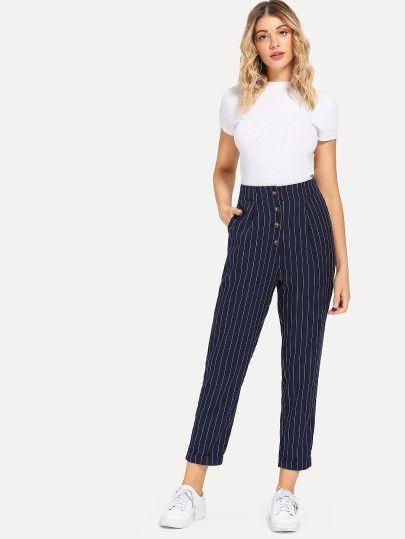 92de694aac Slant Pocket Button Up Striped Pants -SheIn(Sheinside) | Calça in ...
