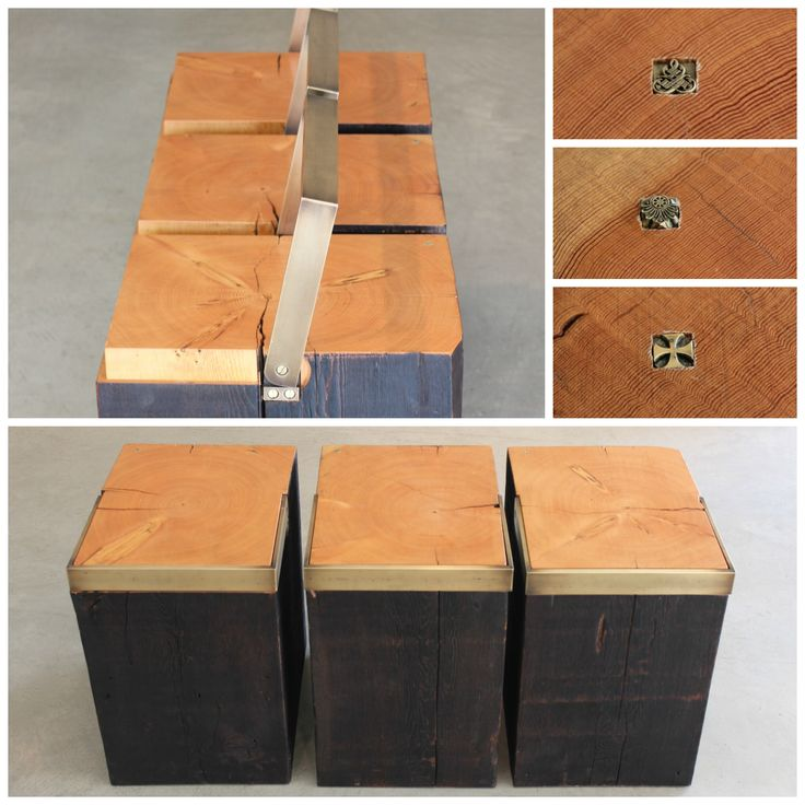 Fir Handle Blocks by Nicholas Purcell crafted from salvaged Douglas Fir beams with brass handles and individual inlays. Can be used individually as a stool or side table, or together as a coffee table or a bench. Available at Kozai Modern $860 each #homedecor #bench #stool #sidetable #coffeetable