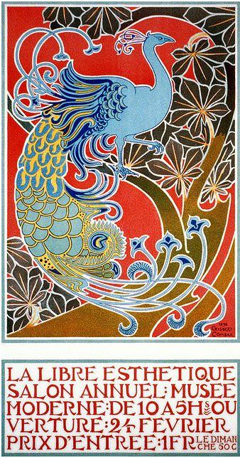 "By Gisbert Combaz, 1 8 9 8, Poster for art exhibition of the Brussels-based artistic movement ""La Libre Esthétique""."