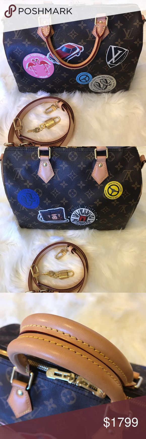 Louis Vuitton Ltd World Tour Speedy 30 Bandouliere Limited edition World Tour Speedy 30 Bandouliere from Louis Vuitton up for sell! Interior is pristine. No marks, stains or holes in interior. Stickers look good. Only very slight rubbing on bottom corners from normal wear, slight water marks which have faded with the nice patina on the vachetta. Still smells new! From smoke free home. 100% authentic.   Comes with dust bag, Shoulder strap and lock and keys. I am selling part of my collection.