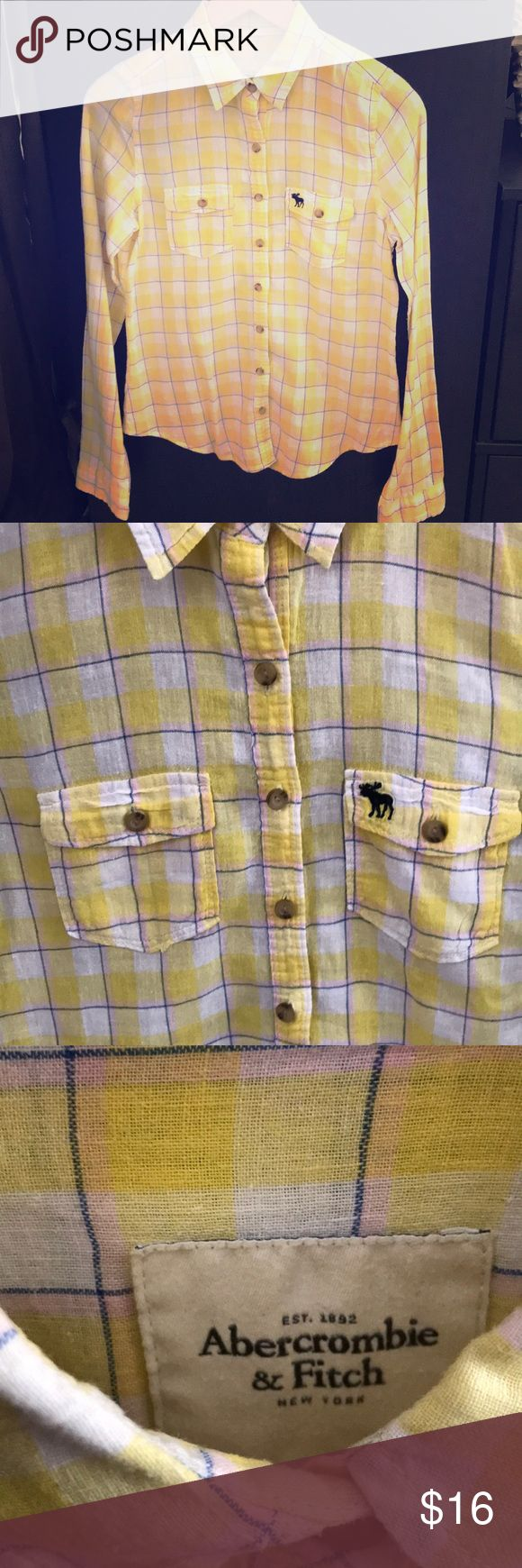 Abercrombie and Fitch Yellow Plaid Button Down Abercrombie and Fitch Yellow Plaid Button Down Abercrombie & Fitch Tops Button Down Shirts