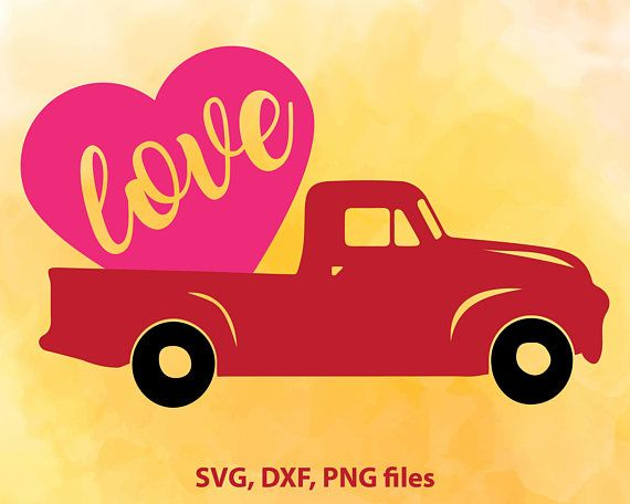 Love Truck Svg Valentines Day Svg Pickup Truck Svg Heart Truck