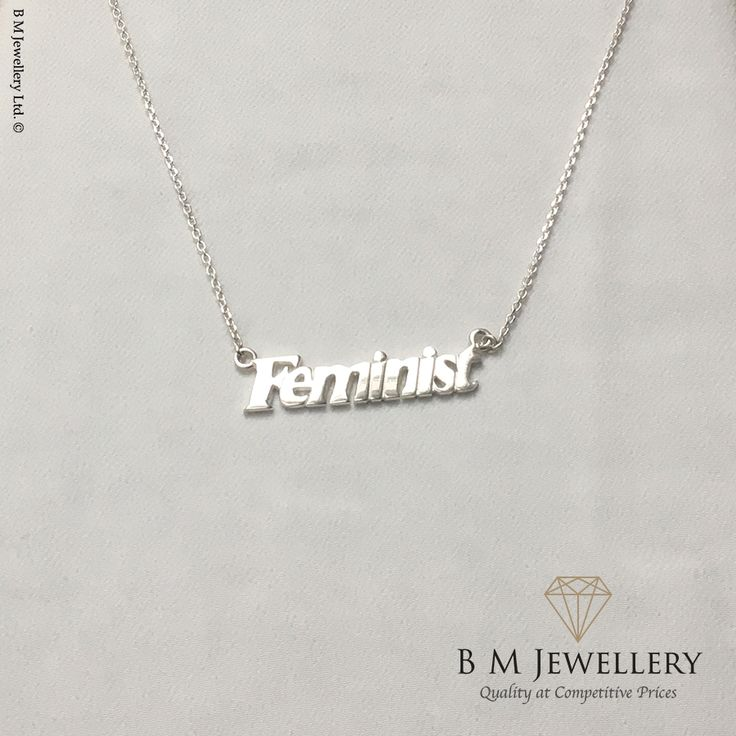 Made from Solid 925 Sterling Silver including chain of chosen length.  Free Postage & Packaging within the UK.  International Postage & Packaging from £15.  Height - 8.5mm Width - 38mm Thickness - 1.5mm Weight - 5.6g  #Feminist #Feminism #ImWithHer #FeministNecklace #FeministNecklace #FeministPendant