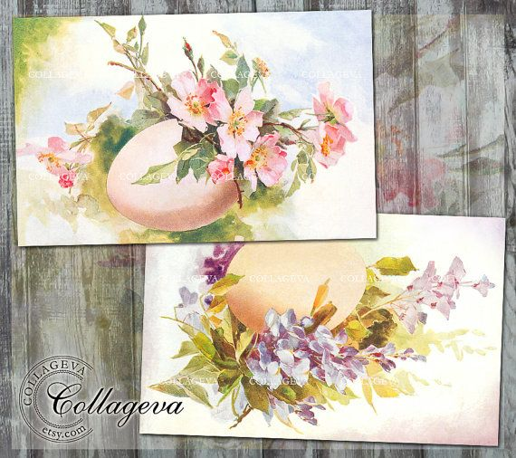 Digital Easter Cards, Vintage Tag Card, Postcard, Large printable card & Bookmark, Spring Flower Egg Clipart, Easter card, Easter Tag by Colleageva on Etsy