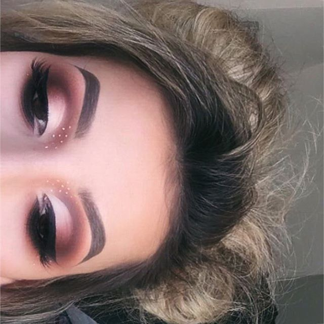 "Peek a boo.... My bambi eyes! Using @eyerisbeauty #eyerisbeauty lashes in ""Athena"" @nyxukcosmetics white liquid liner @nyc__makeup liquid liner for my wing @tartecosmetics light/medium concealer to calve out the cut crease @makeupgeekcosmetics eyeshadows in ""corrupt, creme brûlée, peach smoothie, cocoa bear"" @limecrimemakeup jam from the Venus palette @anastasiabeverlyhills #dipbrow medium bro"