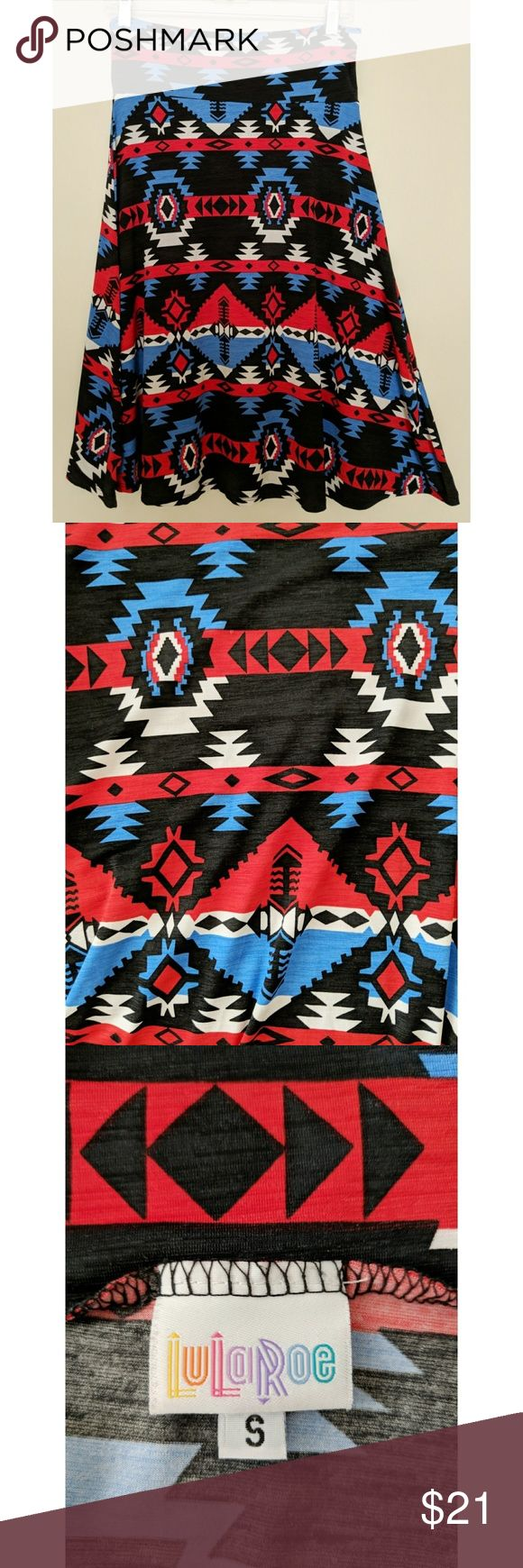 LuLaRoe Azure Skirt - Size S - EUC LuLaRoe Azure Skirt - Size S - Excellent Used Condition (EUC)  Knee-length, A-line skirt. Knit fabric. Flattering fold-over waist. Aztec / tribal / southwestern print.  Materials:  96% spun polyester, 4% spandex  Color: Black, red, white, blue  Machine wash cold  No stains, holes, or other damage LuLaRoe Skirts A-Line or Full