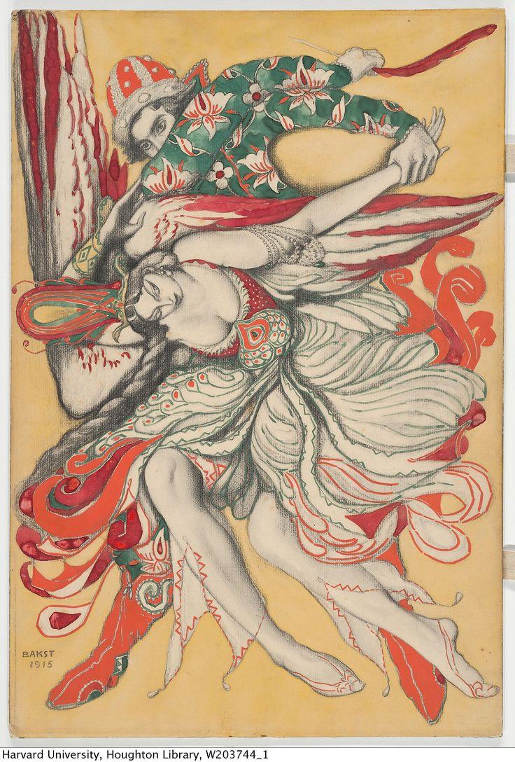 BAKST, LÉON, 1866-1924. POSTER DESIGN FOR FIREBIRD, 1915.