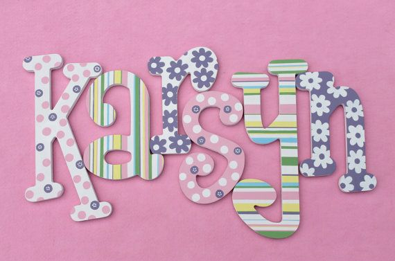 Painted Wooden Letters  Personalized Wood Name by Alphabeticals, $10.00